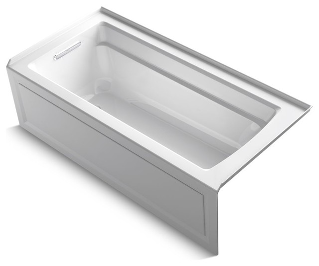 "Archer Exocrylic 3-Side Integral Flange Bath, 66""x32"", White."