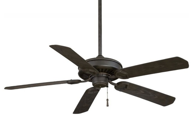 Minka-Aire Sundowner Black Iron/aged Iron Accents Outdoor Fan.