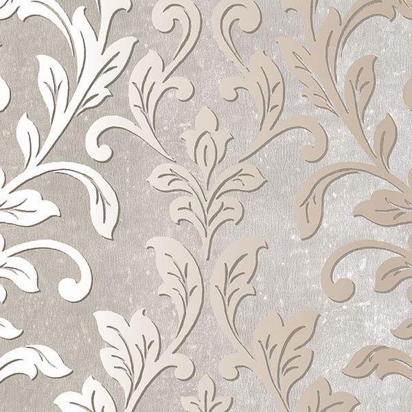Silver leaf damask gray taupe tx34844 contemporary for Black white damask wallpaper mural