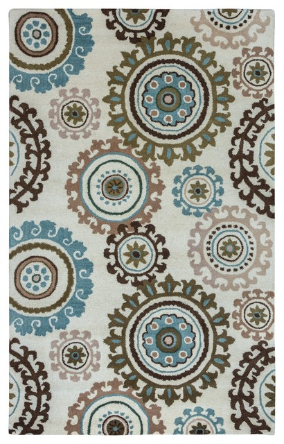 Rizzy Home Volare Area Rug Ivory Taupe Sage Blue Brown