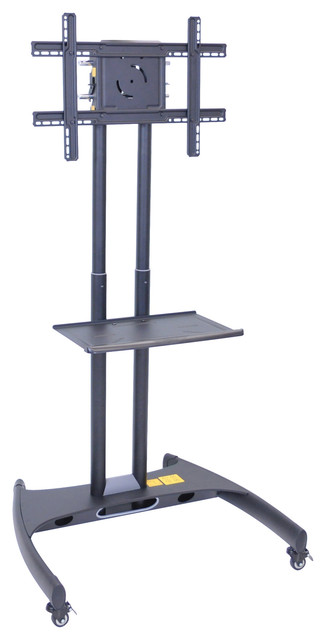 Offex Adjustable Height Rolling Flat Panel Cart With Accessory Shelf