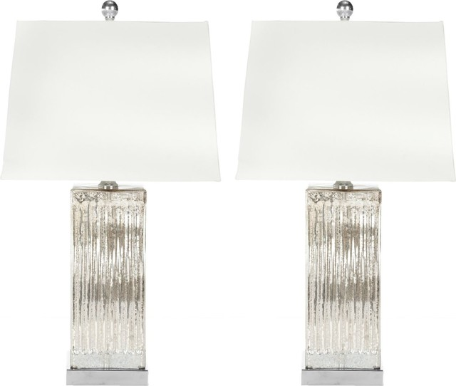 Glass Table Lamp, Set Of 2, Assorted.