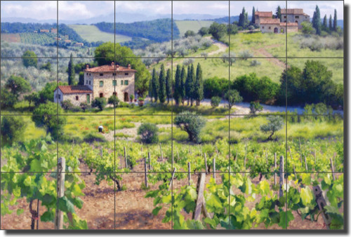 Carey Tuscan Vineyard Ceramic Tile Mural