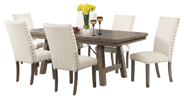 dex 7piece dining set table and 6 upholstered side chairs dining