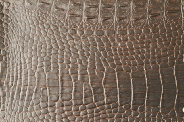 Alligator 3274 Choc Brown Faux Leather for Upholstery and Interior Design by FFC