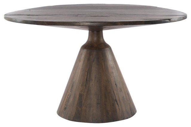 Bronx Rustic Lodge Salvaged Wood Round Pedestal Dining Table 54