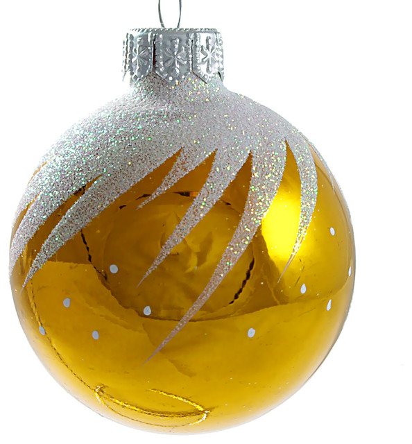 Whirl Glass Christmas Ball Ornament Yellow Glossy