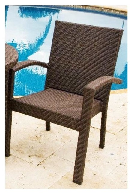 soho patio dining arm chair in rehau fiber java brown finish traditional
