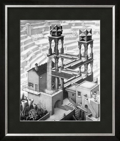 waterfall framed art print by m c escher traditional prints and