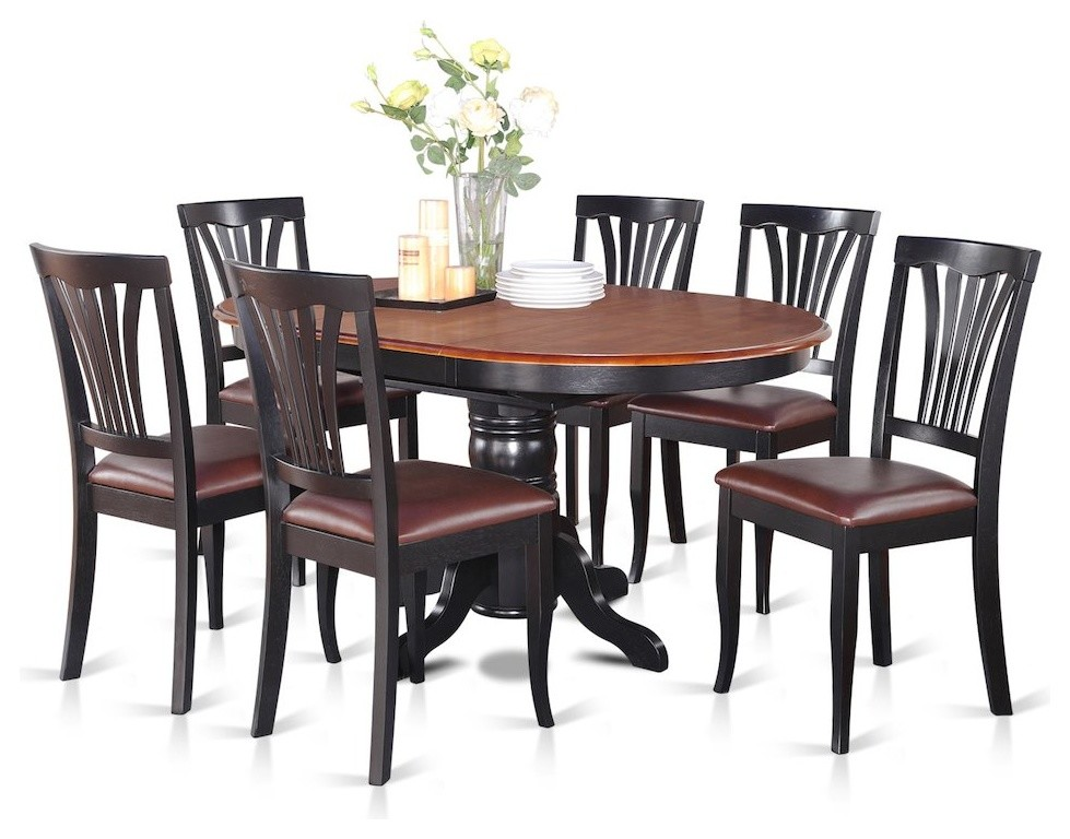 7-Piece Dining Room Set-Oval Table With Leaf And 6 Dining ...