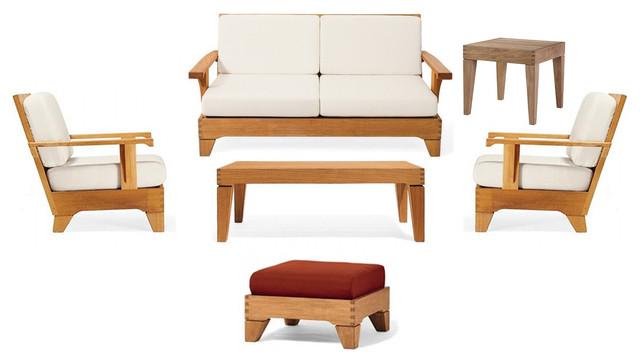 6 Piece Caranas Outdoor Teak Sofa Set With Sunbrella