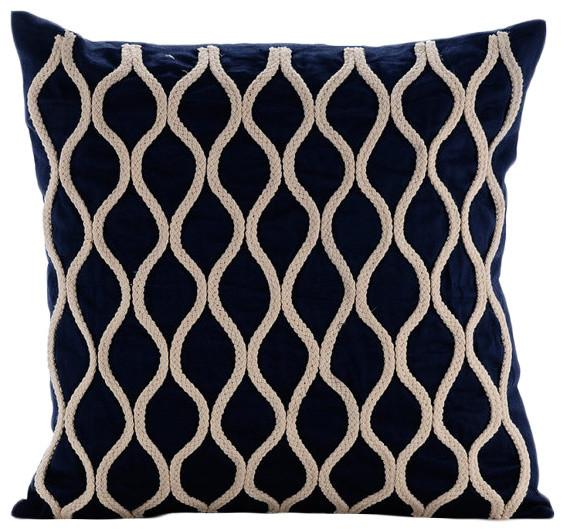 "Jute Lattice Trellis Blue Cotton Linen 26""x26"" Euro Pillow Cases, Jute Chorus."