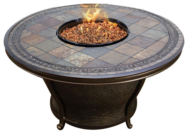 Tk Classics Tempe 48 Quot Round Gas Fire Pit Table Slate Top