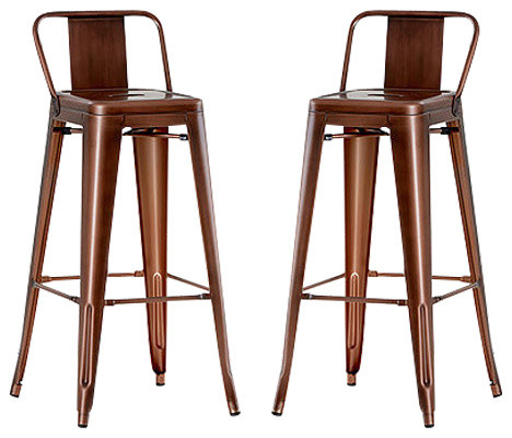 Industrial Bar Stool, Copper, With Back Rest, Set of 2