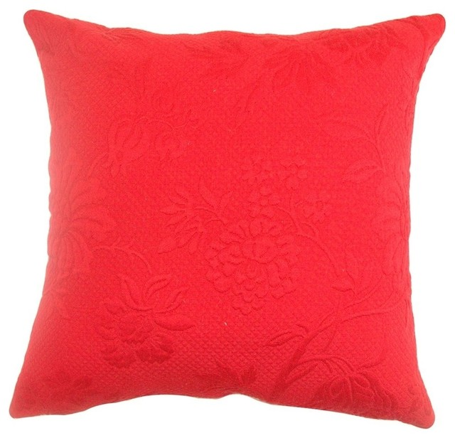 Contemporary Crewel Pillow : The Pillow Collection - Vania Crewel Pillow Red - View in Your Room! Houzz