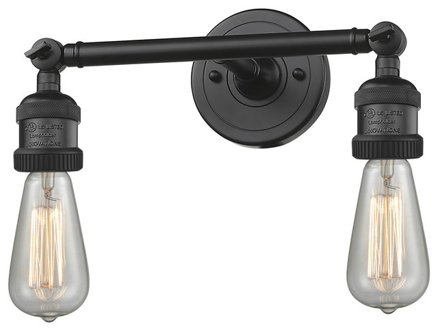 "2-Light Dimmable LED Bare Bulb 11"" Bath Fixture, Matte Black"