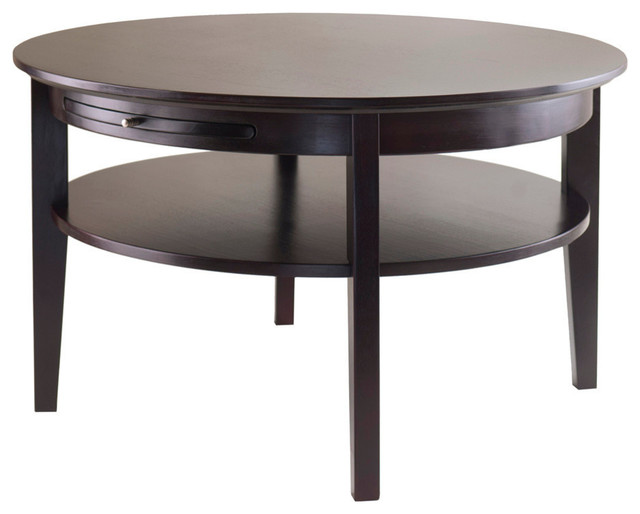 Winsome Wood Amelia Round Coffee Table W/ Pull Out Tray In Dark Espresso.