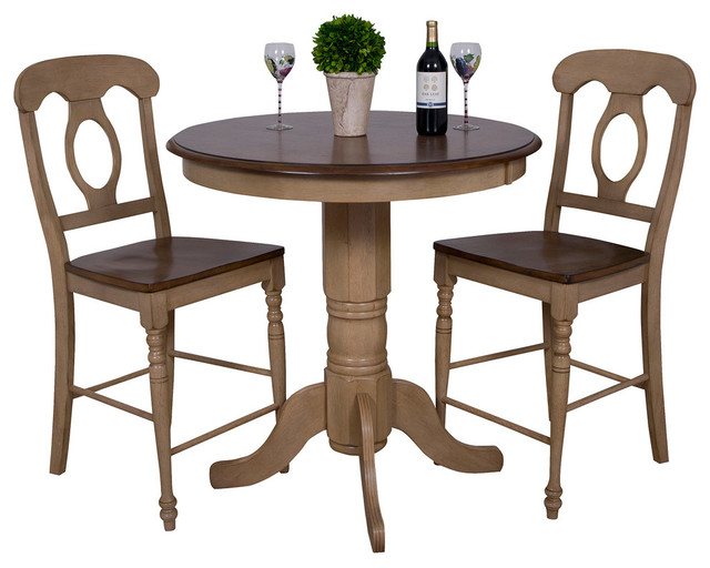 3 Piece Brook 36 Round Pub Table Set With Napoleon Stools