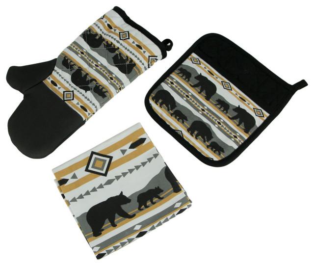 Pot Holder and Tea Towel Set Black Mojave Sunset 3 Piece Kitchen Oven Mitt