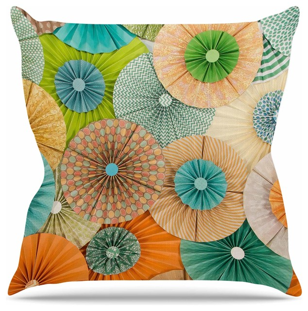 "Heidi Jennings ""Summer Party"" Teal Orange Throw Pillow, 16""x16"""