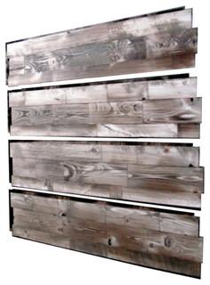 Prefab Easy Install Wood Wall Panels Stonewash Gray, Set of 4 - Rustic - Wall Panels - by ...