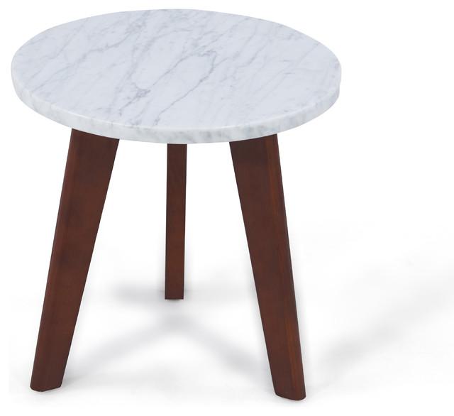 Sophia Italian Carrara Marble End Table.