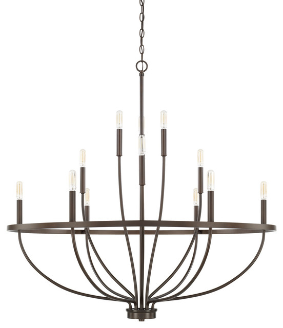 Capital Lighting 428501BZ Greyson 12 Light Chandelier, Bronze