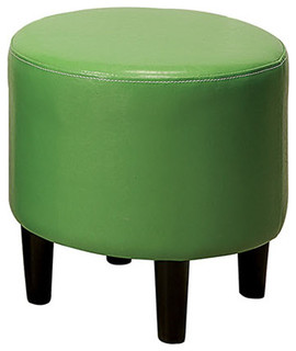 Small Round Faux Leather Upholstered Ottoman
