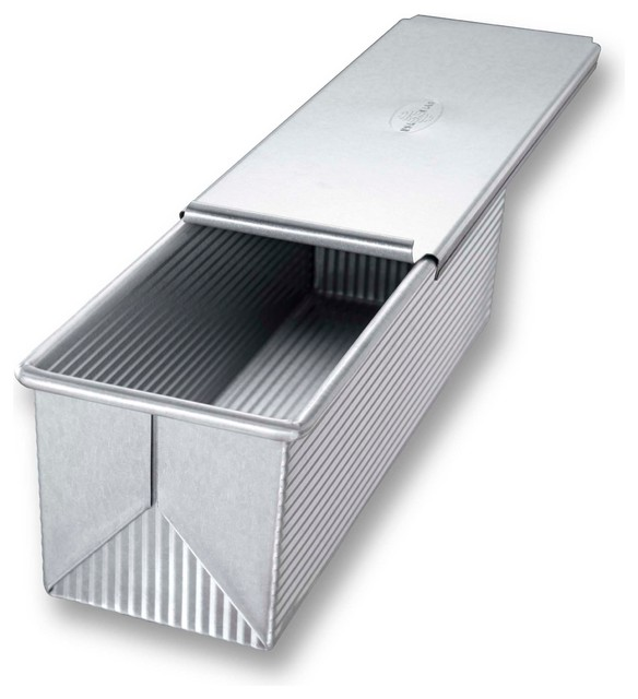 """Usa Pan Bakeware Aluminized Steel 9""""x4"""" Pullman Loaf Pan With Cover."""