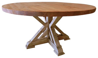 """American Hand Crafted Rustic Dining Table, """"Guilford"""" Rustic Round Table"""