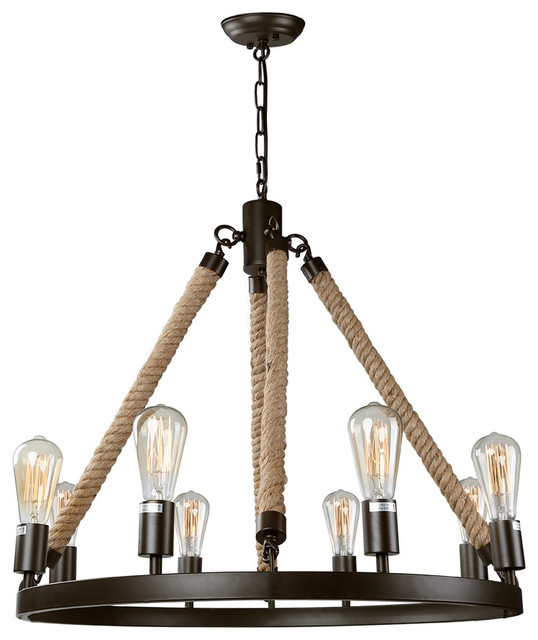 8-Light Rustic Pendant Lighting Fixture