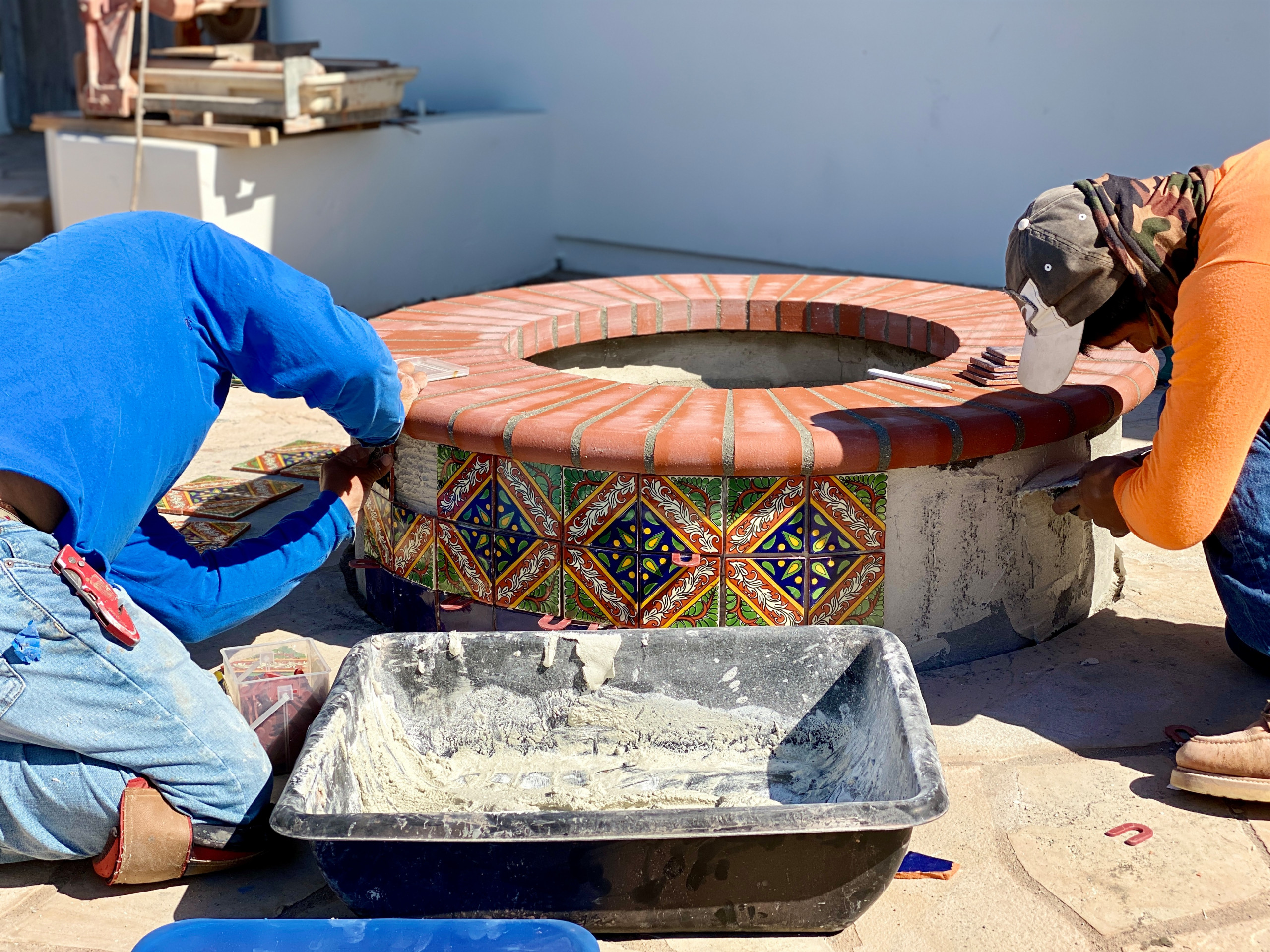 Installing Mexican Tile on a New Fire Pit in Crown Point