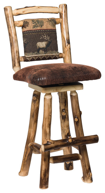 Rustic Aspen Log Swivel Bar Stools With Padded Seat And Back Set Of 2 Counter By Furniture Barn Usa