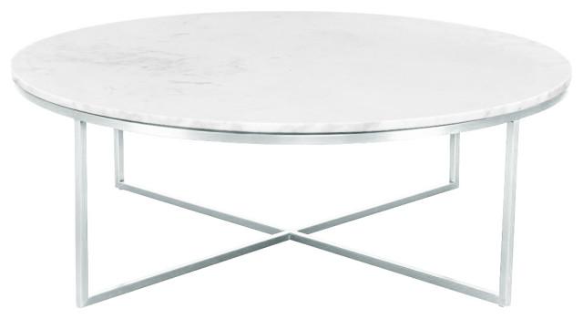 Liza White Marble Round Coffee Table, White Round Coffee Tables