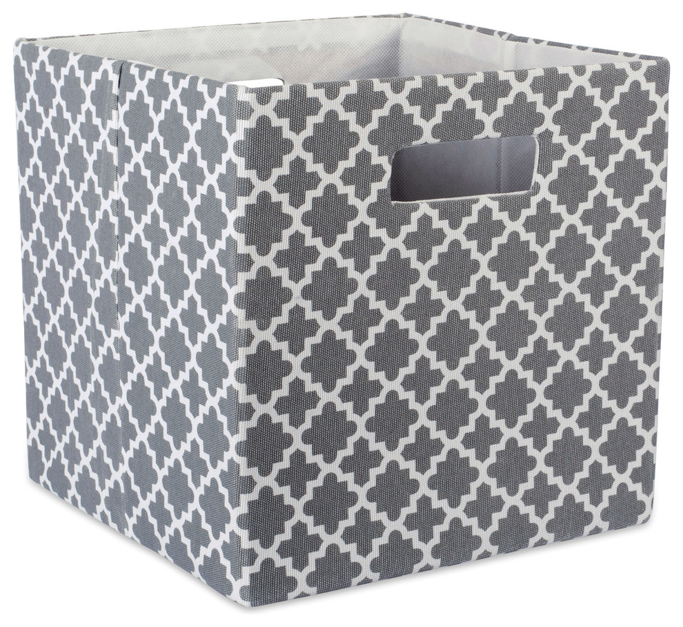 /& Toys Bedroom Small DII Polyester Trapezoid Collapsible Storage Basket For Office Gray Lattice Closet