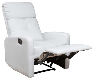 Teyana White Leather Recliner Club Chair   Contemporary   Recliner Chairs    By GDFStudio