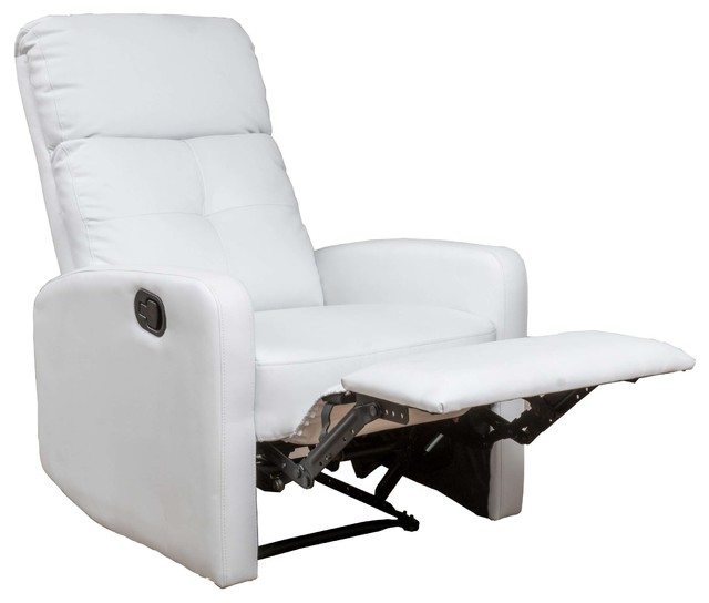 Teyana White Leather Recliner Club Chair Contemporary Recliner Chairs