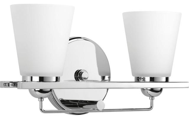 Flight 2-Light Bath Vanity, Polished Chrome, Etched Glass