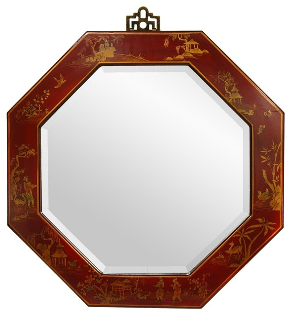 Oriental Furniture Red Lacquer Octagonal Mirror Wall