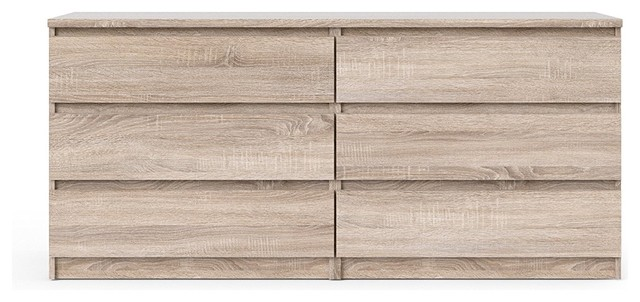 Contemporary Double Dresser, High Quality Wood, 6-Drawer