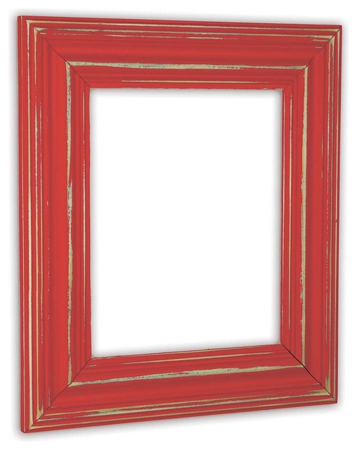"""Wide Distressed Poppy Picture Frame, Solid Wood, 8""""x10"""" farmhouse-picture-frames"""