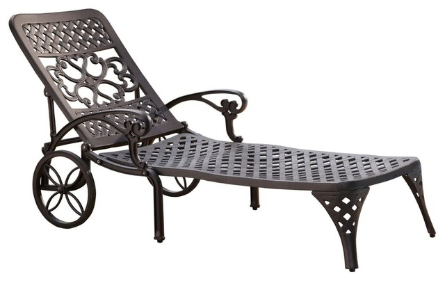 Biscayne outdoor chaise lounge chair traditional for Black chaise lounge outdoor