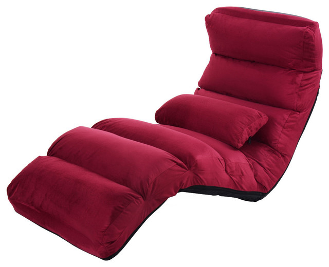Costway Burgundy Folding Lazy Sofa Chair Stylish Sofa Couch Beds Lounge Chair Contemporary Indoor Chaise Lounge Chairs By Goplus Corp Houzz