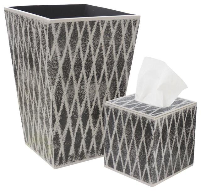 Allen G Designs Gray Trellis Design On Charcoal