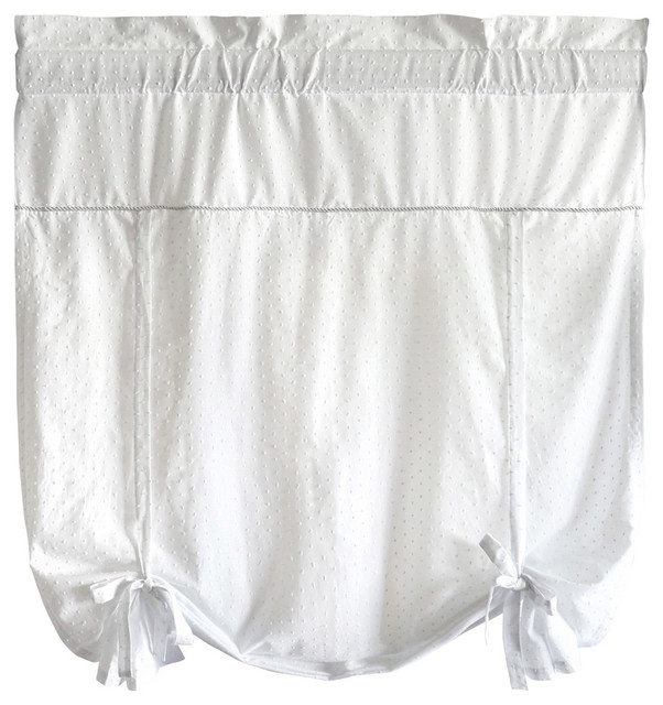United Curtain Co. Dorothy 40x63 Tie Up Shade, White.