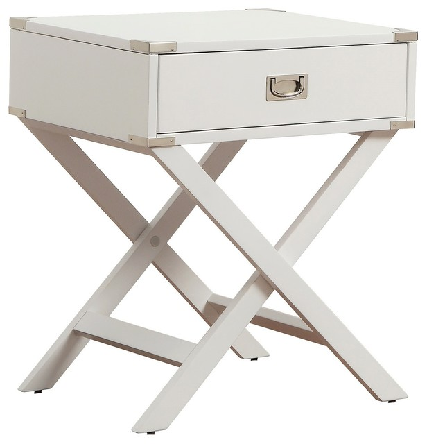 Alastair Wood Campaign Accent Table Nightstand, White