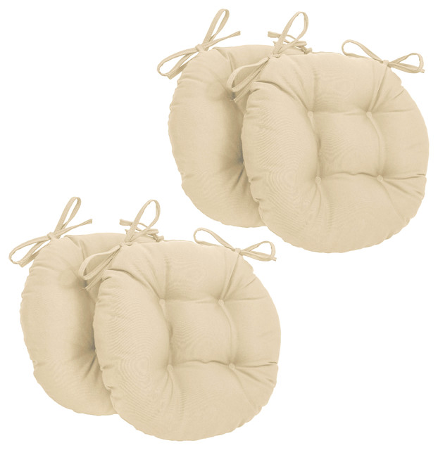"16"" Solid Twill Round Tufted Chair Cushions, Set Of 4, Off White."