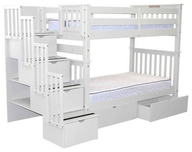 Bedz King Bunk Beds Twin Over Stairway 4 Step 2 Bed Drawers White