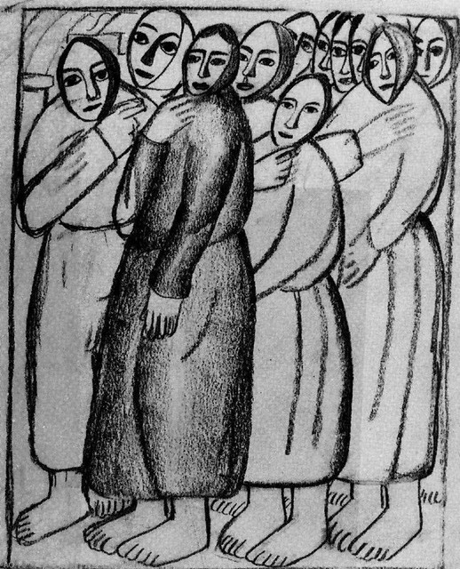"""Kazimir Malevich Peasant Women in a Church, 20""""x25"""" Gallery Wrapped Canvas"""