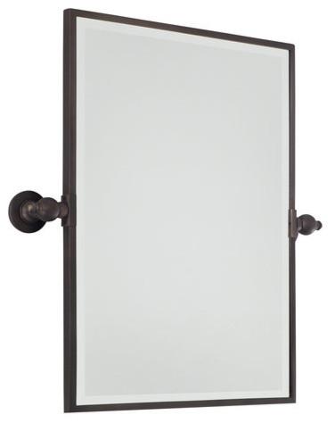 Pivoting Bathroom Mirror, Dark Brushed Bronze. -1